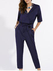 Fashionable V-Neck Short Sleeve Pure Color Jumpsuit For Women