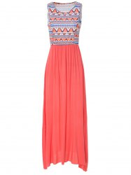 Sweet Scoop Neck Geometrical Print Sleeveless Floor-Length Dress For Women - PINK