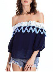 Off The Shoulder Guipure See-Through Blouse