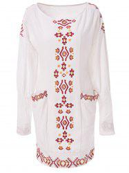 Vintage Long Sleeve Embroidered Shift Casual Dress -