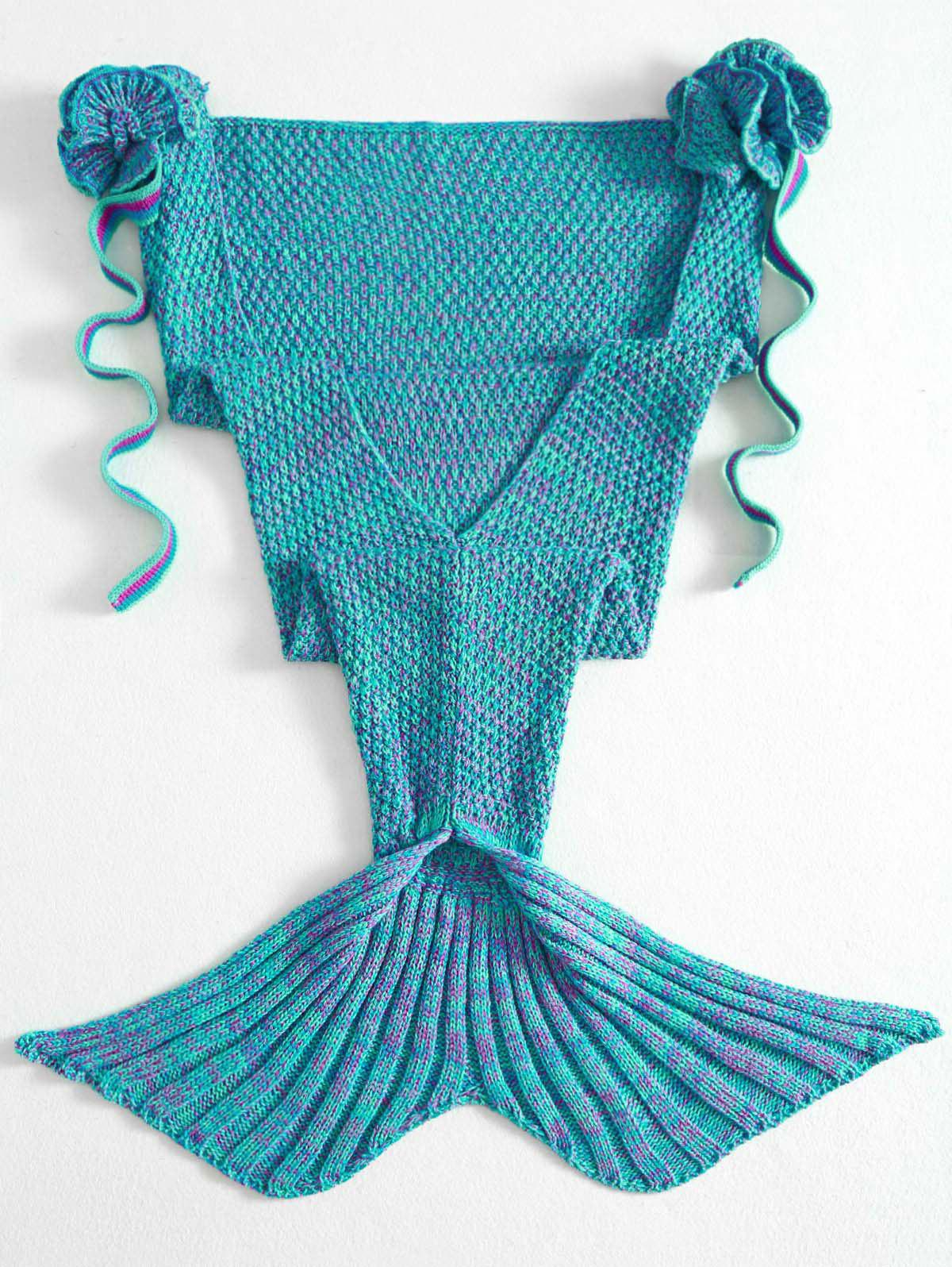 Chic Stylish Knitted Flowers Embellished Mermaid Tail Shape Blanket For Kids