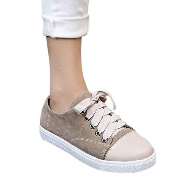 Cheap Leisure Colour Block and Lace-Up Design Athletic Shoes For Women
