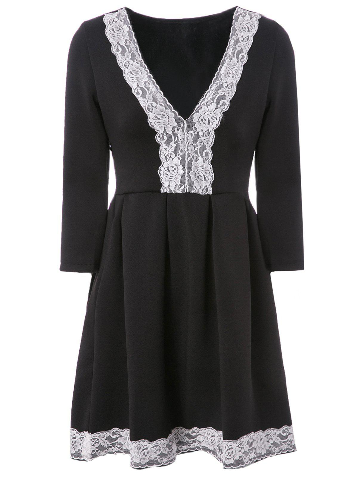 Sale Elegant Plunging Neck 3/4 Sleeve Lace Spliced Pleated Dress For Women