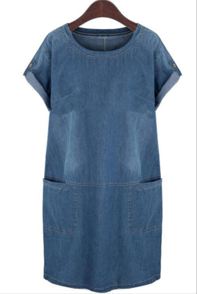 Casual Round Neck Short Sleeve Plus Size Denim Dress For Women