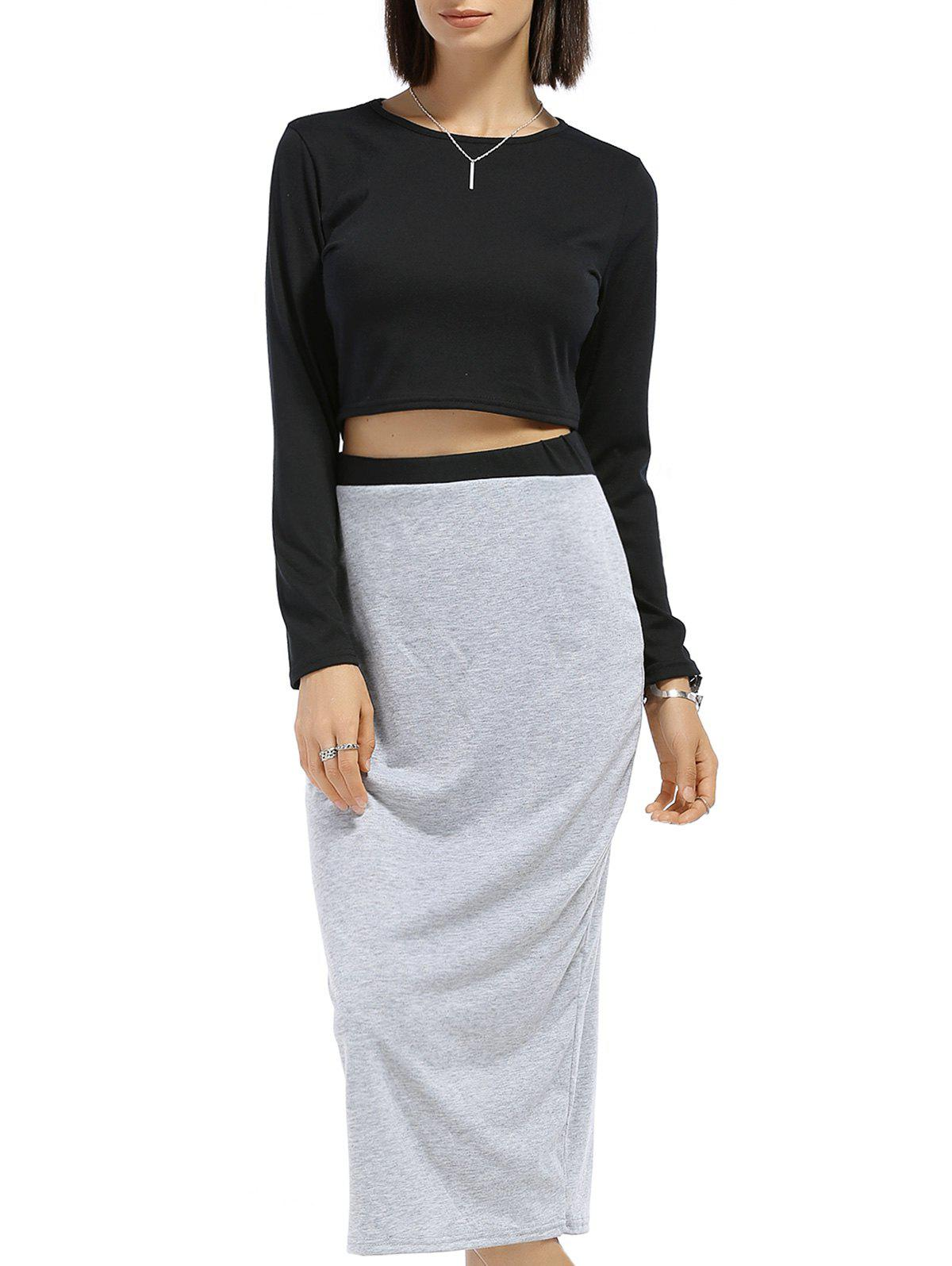 Round Neck Long Sleeve Solid Color Crop Top Spliced Skirt Twinset 119227002