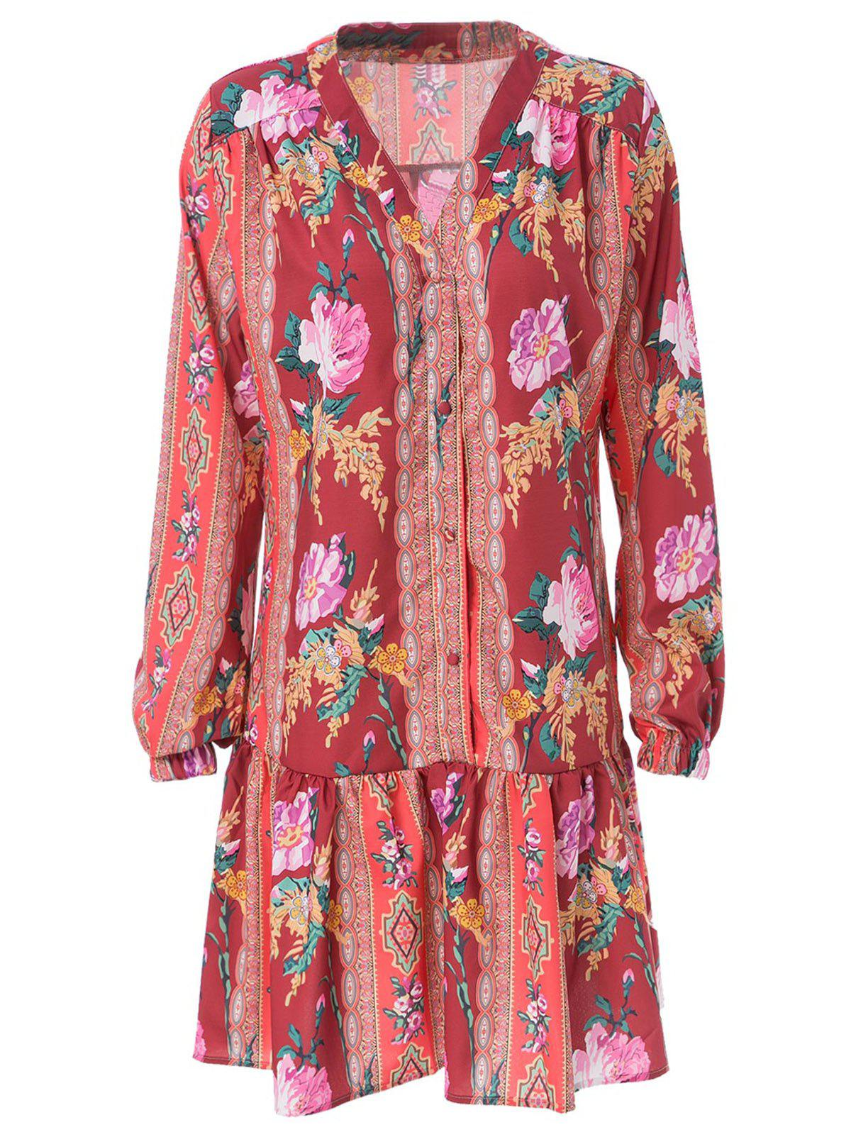 Store V Neck Long Sleeve Ethnic Print Dress