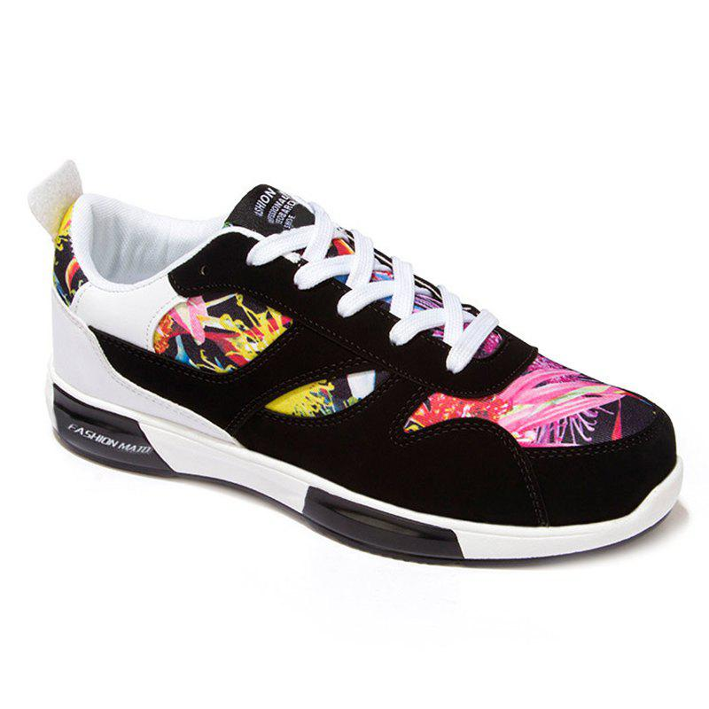 Fancy Stylish Floral Print and Suede Design Design Athletic Shoes For Men
