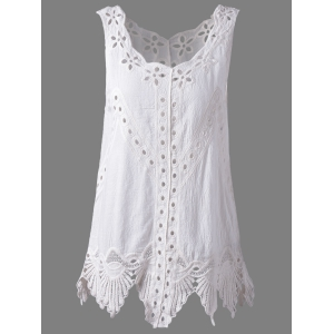 Bohemian Scoop Neck Crochet Sleeveless Solid Color Blouse For Women - White - One Size