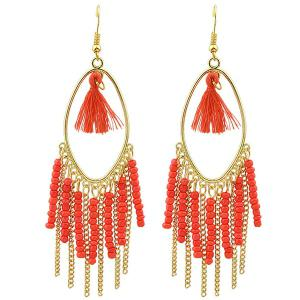 Pair of Tassel Bead Chain Drop Earrings - Red