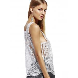 Stylish Scoop Neck Lace Silk Thread See-Through Sleeveless Blouse For Women -