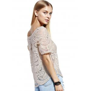 Stylish Scoop Neck Lace Silk Thread See-Through Short Sleeves Blouse For Women - LIGHT KHAKI ONE SIZE(FIT SIZE XS TO M)