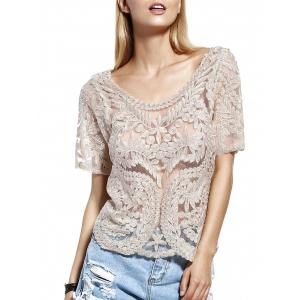 Stylish Scoop Neck Lace Silk Thread See-Through Short Sleeves Blouse For Women
