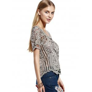 Stylish Scoop Neck Lace Silk Thread See-Through Short Sleeves Blouse For Women -