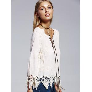 Bohemian V-Neck Lace Lace-Up Panelled Nine-Minute Sleeves Blouse For Women -