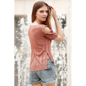 Stylish Jewel Neck Short Sleeve Cold Shoulder Jumper For Women -