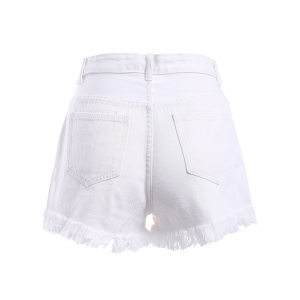 High-Waist Unedged Zipper Fly Jeans Shorts -
