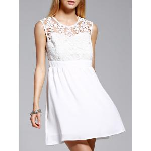 Women's Stylish Jewel Neck Sleeveless Lace Spliced Dress