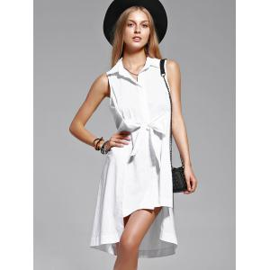 Sleeveless Tie Asymmetric Shirt Dress -