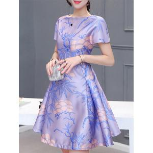 Elegant Square Collar Short Sleeves Pleated Plant Print Women's Dress -