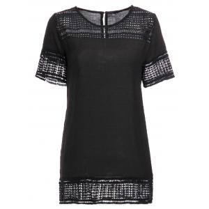 Stylish Short Sleeve Round Neck Hollow Out Women's T-Shirt