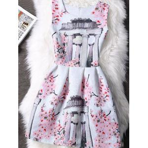 Concealed Zipper High-Waist Print Dress