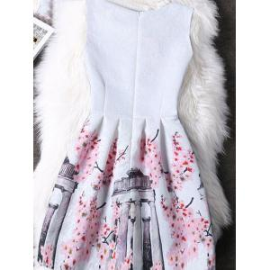 Concealed Zipper High-Waist Print Dress -