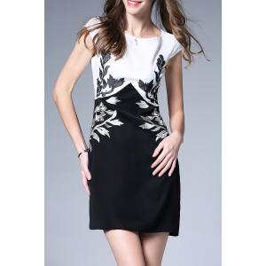 Leaf Embroidered Sheath Dress -