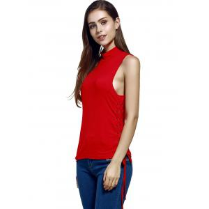 Women's Trendy Stand Neck Pure Color Lace-Up Tank Top - RED S