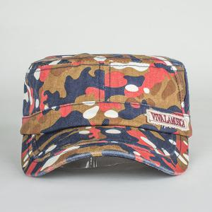 Letters Applique Army Camouflage Print Cool Summer Military Hat - LIGHT RED