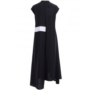 Trendy Color Block Stand Collar Irregular Hem Dress For Women -