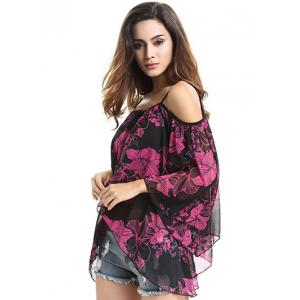 Spaghetti Strap Off Shoulder Bell Sleeve Floral Printed Blouse - BLACK L