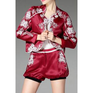 Stand Neck Floral Embroidery Jacket and Shorts Twinset -