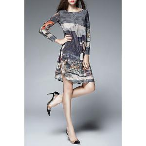 Silk Long Sleeve Print Dress -