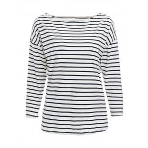 Simple Stripe Skew Neck 3/4 Sleeve T-Shirt For Women