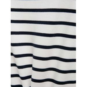 Simple Stripe Skew Neck 3/4 Sleeve T-Shirt For Women - WHITE AND BLACK S