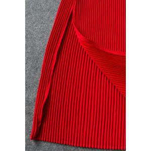 Red Folded Side Slit Dress -