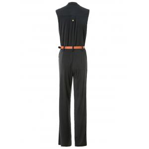 Elegant Stand Collar Candy Color Sleeveless Jumpsuit For Women - BLACK XL