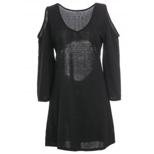 Stylish V-Neck Bell Sleeve Hollow Out A-Line Dress For Women - Black - L