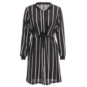 Brief Stand Collar Vertical Stripe Long Sleeve Dress For Women