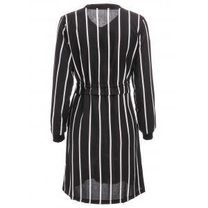 Brief Stand Collar Vertical Stripe Long Sleeve Dress For Women - BLACK 2XL