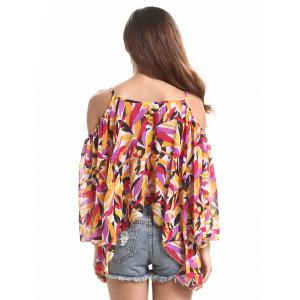 Chic Spaghetti Strap Off Shoulder Bell Sleeve Feather Print Women's Blouse -