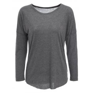 Casual Gray Long Sleeve Cotton Blend Pullover T-Shirt For Women - Gray - Xl