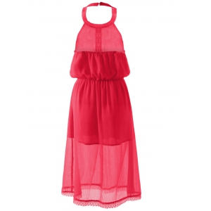 Slimming Halterneck Backless Chiffon Dress - RED S