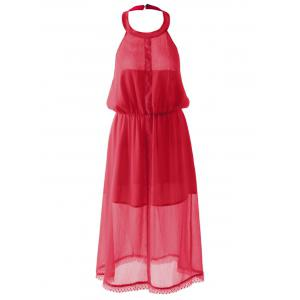 Slimming Halterneck Backless Chiffon Dress - Red - M