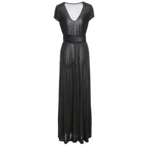 Belted Short Sleeve Maxi Prom Dress - BLACK L