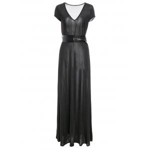 Belted Short Sleeve Maxi Prom Dress