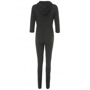 Stylish 3/4 Sleeve Plunging Hooded Women's Jumpsuit -