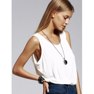 Stylish Scoop Neck White Tank Top For Women -