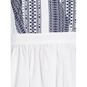 Sweet Fitted V-Neck Printed Dress For Women - WHITE S