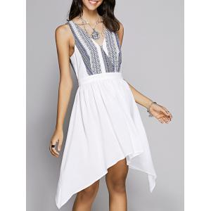 Sweet Fitted V-Neck Printed Dress For Women - White - M